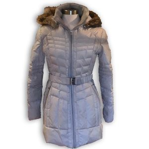 Guess Fur Hooded Knee Length Silver Puffer Jacket